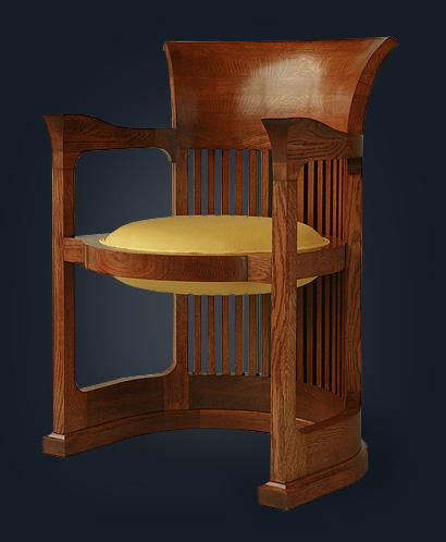 Martin House Barrel Chair After Frank Lloyd Wright